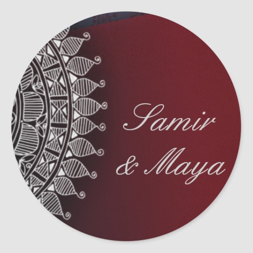 Dark red and silver design round sticker