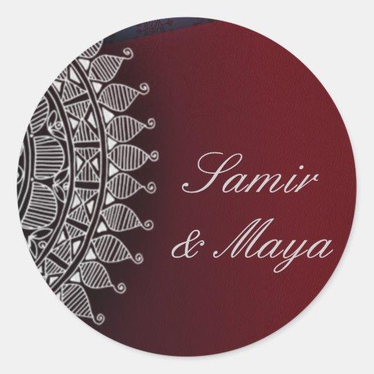 Dark red and silver design round sticker