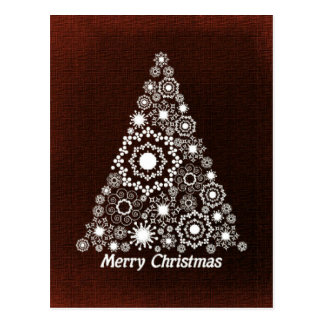 Dark Red And White Christmas Tree Postcard