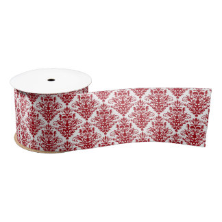 Dark red and White Elegant Damask Pattern Satin Ribbon