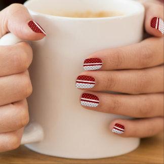 Dark Red and White Polka Dots Designs Minx Nail Art