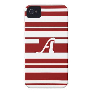 Dark Red and White Random Stripes Monogram iPhone 4 Covers