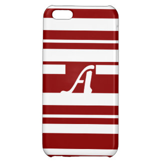 Dark Red and White Random Stripes Monogram Cover For iPhone 5C