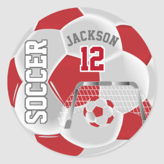 Dark Red and White Soccer Ball Classic Round Sticker