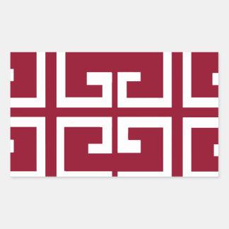 Dark Red and White Tile Rectangular Sticker