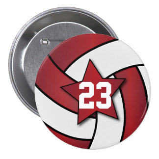 Dark Red and White Volleyball Star Players 7.5 Cm Round Badge
