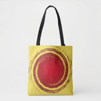 Dark Red and Yellow Swirling Circle Background Tote Bag