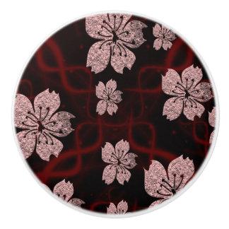 dark red asian cherry blossom ceramic knob