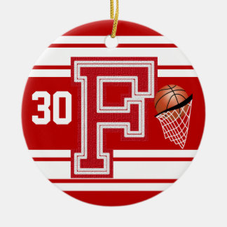Dark Red Basketball All Varsity  Letters -F Ceramic Ornament