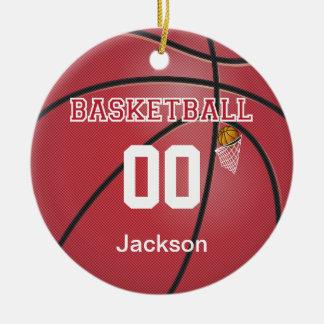 Dark Red Basketball | DIY Name & Number Ceramic Ornament