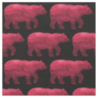 Dark Red Bear on Black Fabric H