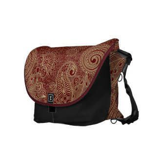 Dark Red & Beige Vintage Floral Damasks Messenger Bags