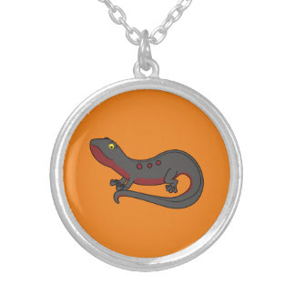 Dark Red & Black Newt with Spots Round Pendant Necklace