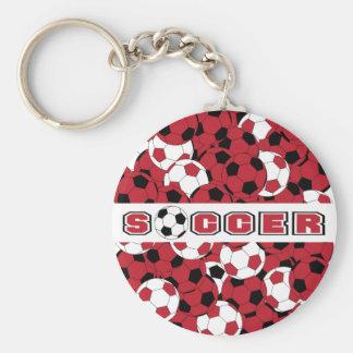 Dark Red, Black & White Soccer Ball Basic Round Button Key Ring
