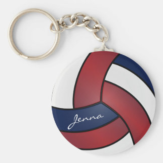 Dark Red, Blue and White Volleyball Key Ring