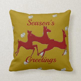 Dark Red Bucks Snowflakes Cushion