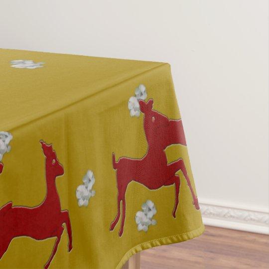 Dark Red Bucks Snowflakes Tablecloth