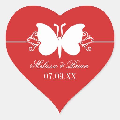 Dark Red Butterfly Swirls Wedding Stickers Stickers