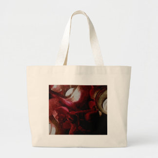 Dark Red Candlelight Oil Painting Large Tote Bag