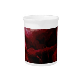 Dark Red Candlelight Oil Painting Pitcher