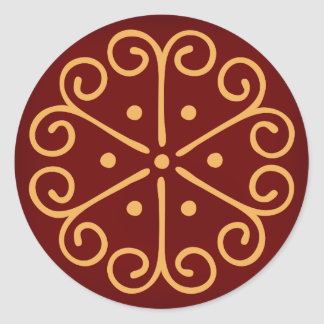 Dark Red Christmas Envelope Seal w/ Gold Snowflake Round Sticker