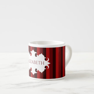 Dark red Christmas striped name Espresso Cup