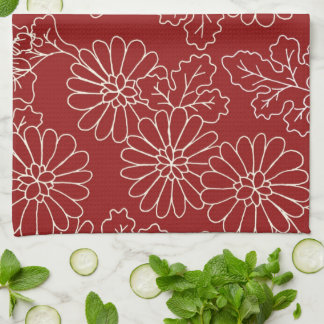Dark Red Cream Floral Kitchen Cloth Towel