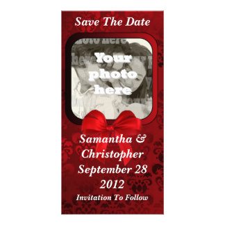 Dark red damask save the date wedding photo card template