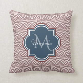 Dark Red Deco Scallops Navy Blue Monogram Name Cushion