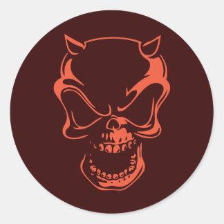 Dark Red Demon Skull Classic Round Sticker