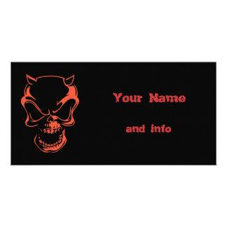 Dark Red Demon Skull Picture Card