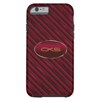 Dark Red Diagonal Stripes | Monogrammed Tough iPhone 6 Case