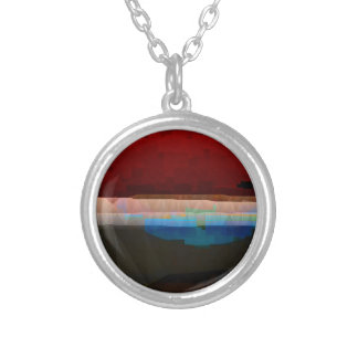 Dark Red Digital Pattern Abstract Silver Plated Necklace