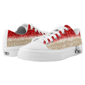 Dark Red Faded & Tan Glitter Low Top Shoes