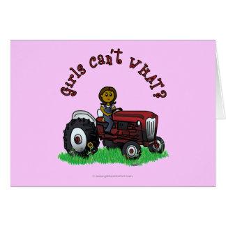 Dark Red Farmer Girl Card