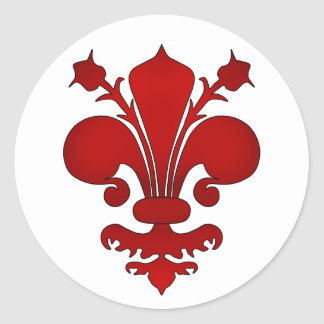 Dark red fleur de lis symbol classic round sticker