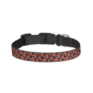 Dark Red Floral Dog Collar