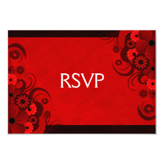 Dark Red Floral Gothic Elegant RSVP Response Cards 9 Cm X 13 Cm Invitation Card