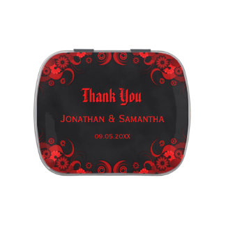 Dark Red Floral Gothic Wedding Favor Candy Tins