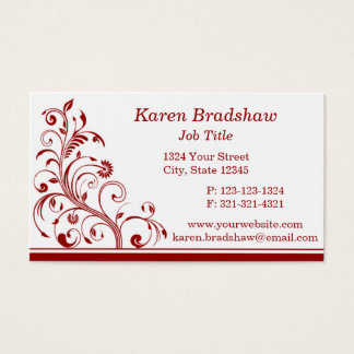 Dark Red Floral Vines & Curls Business Cards