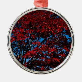 Dark Red Foliage Silver-Colored Round Decoration