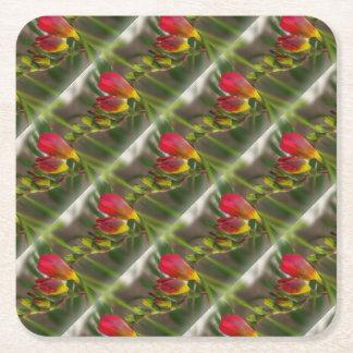 dark red freesia square paper coaster