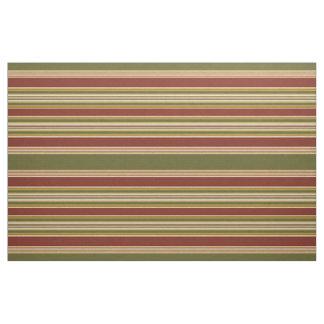 Dark Red Green Ivory Ochre Yellow Stripes Pattern Fabric