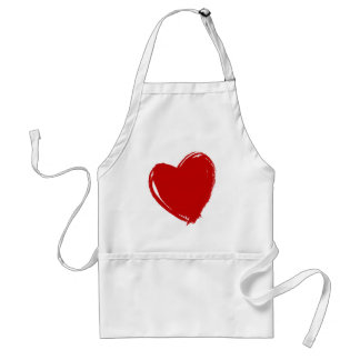 Dark Red HEART Standard Apron