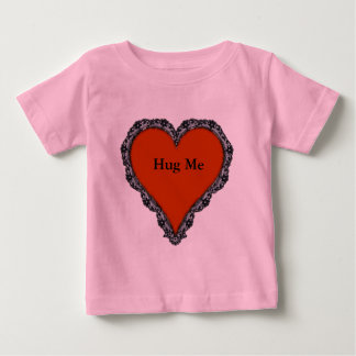 Dark Red Heart Surrounded by Black Lace Design Tee Shirt