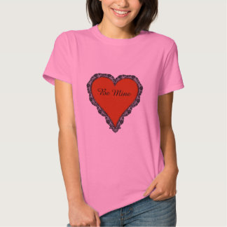 Dark Red Heart Surrounded by Black Lace Design Tees