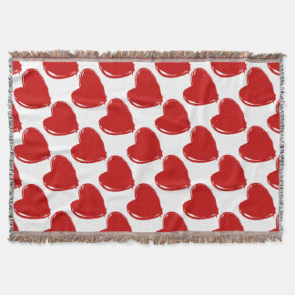 Dark Red HEART Throw Blanket