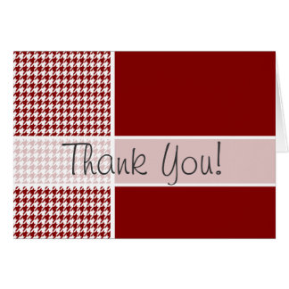 Dark Red Houndstooth; Personalized Card