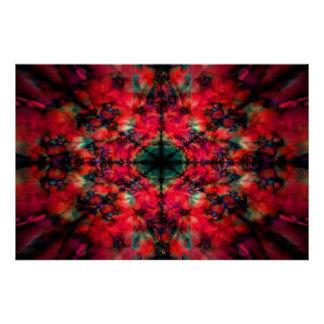 Dark red kaleidoscope pattern poster