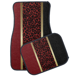 Dark Red Leopard Animal Print Pattern | Tan Car Mat